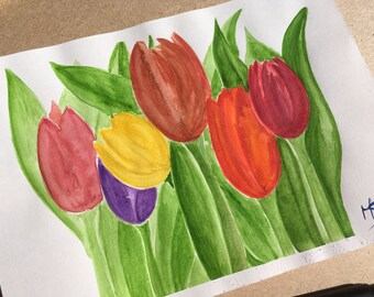 Tulips - Watercolour Fine Art Original Painting By MS A5 Size