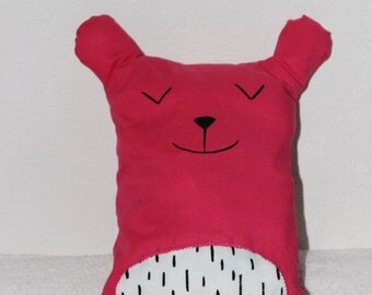 security blanket, stuffed animal, pillow, pillow, bear bear, fuchsia, pink, decorating room for children and babies
