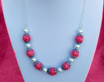 Salmon and White necklace / silver toned / bridesmaid gift / wedding