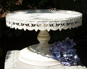 "16"" Shabby chic metal cake stand/Gorgeous white distressed pedestal cake"