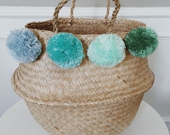Lost at Sea - 4 Pom Seagrass Basket