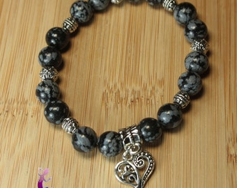 """Bracelet obsidian """"snow tempest"""" with silver metal charm heart - Valentine's day"""