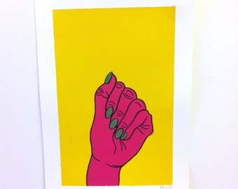 Pink Hand A4 Original Painting, Signed and Editioned