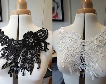 A Black or white bridal floral lace collar applique / floral neckline collar motif is for sale. Sold by per piece
