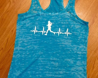 Runner Girl Burnout Gym Workout Tank Heartbeat