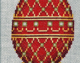 Cross Stitched Faberge Red Egg with Pearls on a Gold Stand