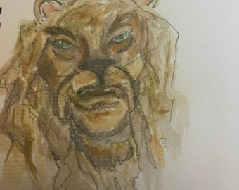 Cowardly lion watercolor