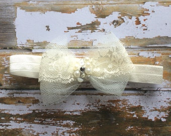 White Tulle and Lace Bedazzled Bow Headband | Baby Blessing | Christening