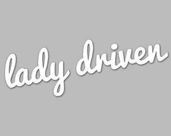 lady driven car vinyl sticker/decal