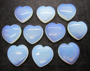 "Bulk 1""(25X7MM) Opalite Pocket Hearts - 10 PC. LOT"