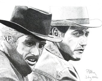 Pen & Ink Drawing, A4 - Butch and Sundance