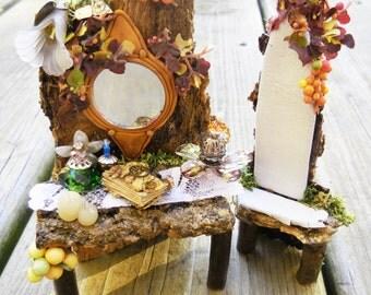 Fairy Garden Vanity, Fairy Chair, Miniature  Fairy Furniture, Fairy Accessories for Terrarium, Fairy House, and Miniature Garden, Fall Minis