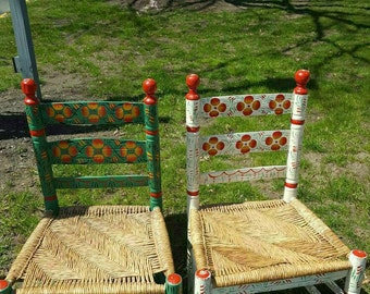 Set of 2 Adult Hand Painted Mexican Chairs. Local Pick-Up Only