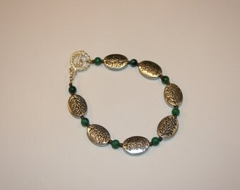 Earthy Green and Silver Bracelet