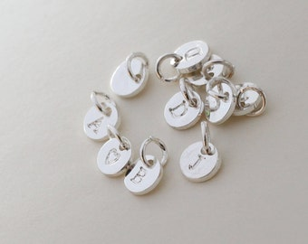 6mm initial Charm, silver Letter charms, Initial Round Disc, Can Add to necklace or Bracelet, Personalized Initial Charm