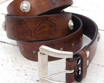 Men's Leather Belt, Dark brown leather belt, Horse belt, Top quality vegetable tanned leather
