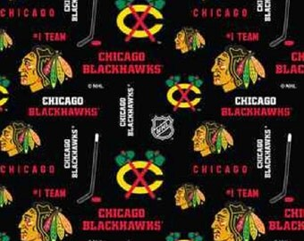 NHL CHICAGO BLACKHAWKS Black Hockey 100% cotton fabric material you choose length liscensed for Crafts, Quilts, clothing and Home Decor