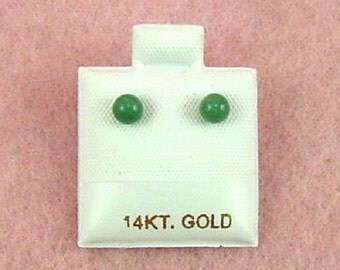14K Gold - 4mm Aventurine Gemstone Ball Stud Earrings (GE328)