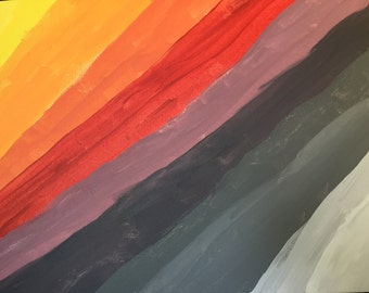 Gray and Red Abstract Rainbow Acrylic Painting