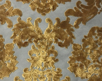 Upholstery Fabric - Florence Palace - Antique Gold -Burnout Velvet Fabric Damask Pattern Upholstery Fabric by the Yard-Available in 9 Colors