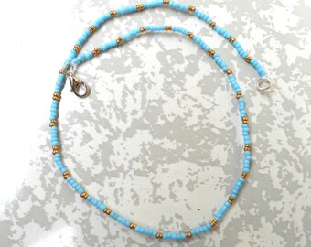 Turquoise Beaded Choker, Turquoise Seed bead Choker, Turquoise and gold choker, Turquoise choker necklace, seed bead necklace.