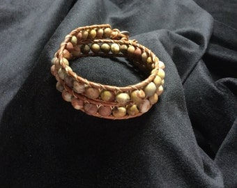 Beautiful handmade leather wrap bracelet, chan luu style, bohemian wrap, gorgeous beaded bracelet!!