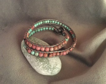 Uniquely handmade stone leather wrap jewelry, beadwork wrap bracelet, leather wrap chan luu style