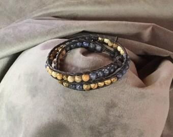 Beautiful beaded stone wrap bracelet, bohemian leather jewelry, chan luu style bracelets