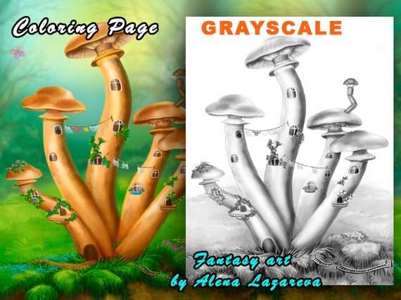 Coloring Page, Grayscale illustration  Fantasy Mushrooms honey agarics