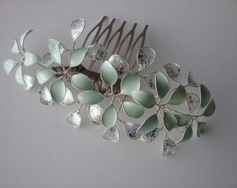 Bridal hair comb wedding flowers, handmade set mint