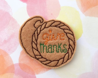 Felties, Thanksgiving Felties, Holiday Felties, Give Thanks, Cornucopia Felties,Felt Applique