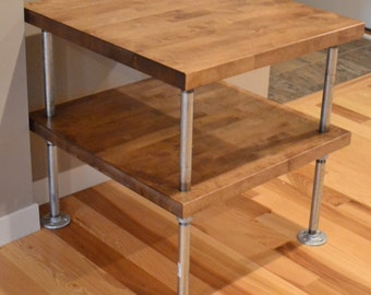 Modern Industrial Butcher Block End Table - Custom Made