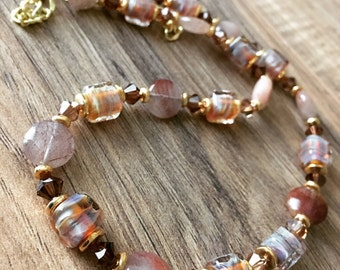 Womens necklace, boho necklace, fall colors, gold necklace, brown necklace, Simply Fall