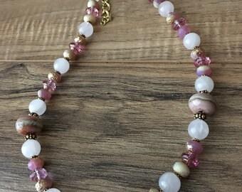 Womens necklace, bridal necklace, pink, gold, crystal necklace, wedding, quartz, Blushing Bride