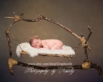 Newborn photography background |  digital backdrop hammock | Baby bed photo props scene 161404