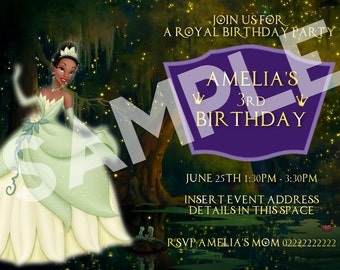 Birthday Invitation - Princess and the Frog Inspired Tiana - Custom Disney Invite