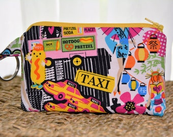 New York City Scene Coin Purse, Small Zipper Pouch, Padded, Coin Pouch, Card Wallet, Gift Idea, Keychain, Phone Carrier