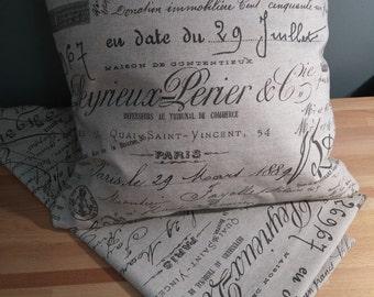 Burlap Paris design pillow