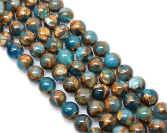 Sapphire Blue, Golden Pressed Jade, Round  Beads, Jade Beads, 6 8 10 12mm, (OB032)