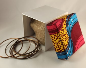 Pink, Yellow and Blue African Fabric Gift Box