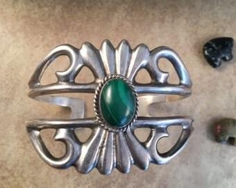 ON SALE Vintage Navajo Sterling Silver & Malachite Cuff Bracelet