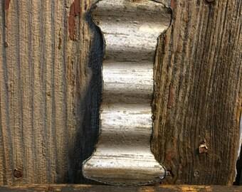 Vintage metal roofing tin letter: I