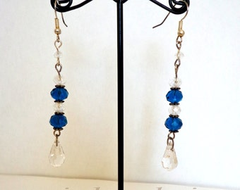 Amazing Royal Blue Swarovski Crystals Teardrops Handmade Earrings
