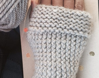 Knit fingerless gloves, knitted arm warmers,