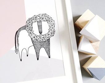 Lion Pastel Nursery Illustration Art Print Kids Decor Baby Shower Gift