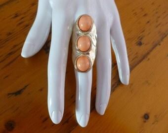 Vintage Orange Gold Tone Saddle Ring, Retro Gold Tone Saddle Ring, Gift for Her