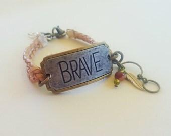 Brave Leather Bracelet, Leather bracelet, handmade leather bracelets