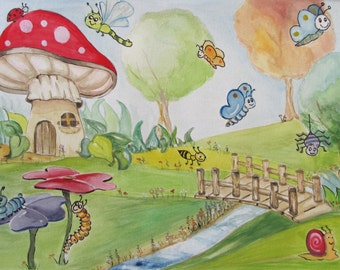 Watercolor Watercolor Painting Naeve naive child collection Bugs insects