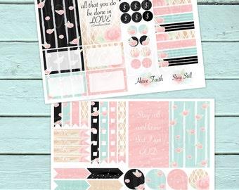 Planner Stickers, Happy Planner Stickers, Erin Condren Planner Stickers, Floral, Flowers, Faith, God, Bible Verses, Laser Printer