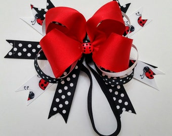Med Lady Bug Combination Bow on Elastic Head Band